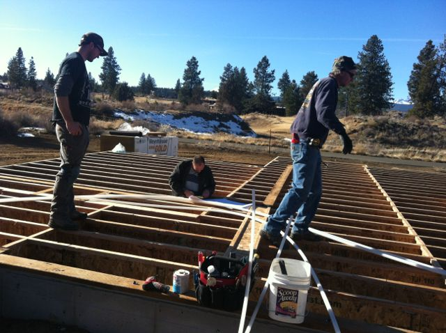 Prepping for Undefloor HVAC at Lot 23 Tetherow Bend Oregon